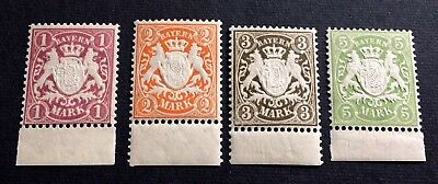 Bavaria Bayern 1911: 4 top old mint hinged stamps WZ.4 -  1, 2, 3, 5 Mark
