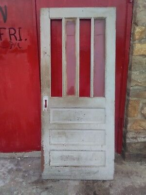 Antique 4 Vertical Long  Glass Panes 3 Horizontal Raised Panels Fitted Wood Door