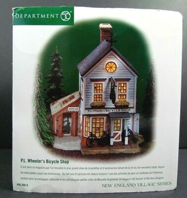Dept 56 P.L. Wheeler's Bicycle Shop New England Village 56613 Retired