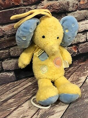 Carters Stuffed Plush Blue Yellow Musical Elephant Crib Pull Toy Baby Lovey