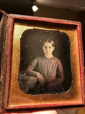 6th Plate Daguerreotype of girl wonderful focus with tinting Aug 1849