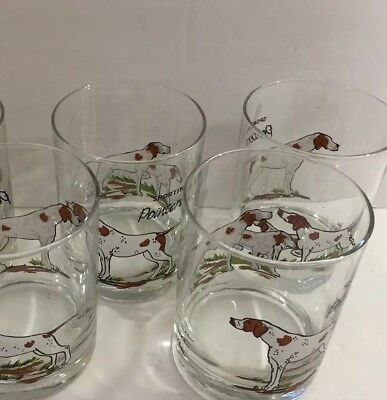 Cera Sporting Dog Pointer Low Ball Glasses Lot Of 5