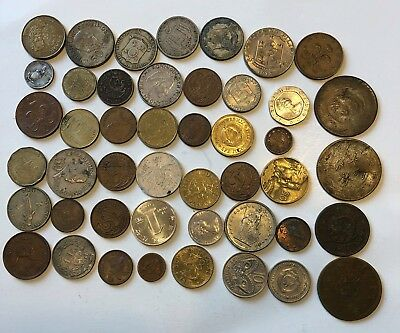 Lot of 46 Mixed China and World Coins