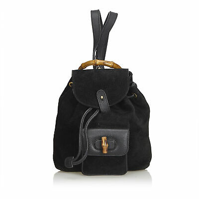 7a84e15bc AUTHENTIC GUCCI BLACK Mini Bamboo Suede Leather Backpack Italy ...
