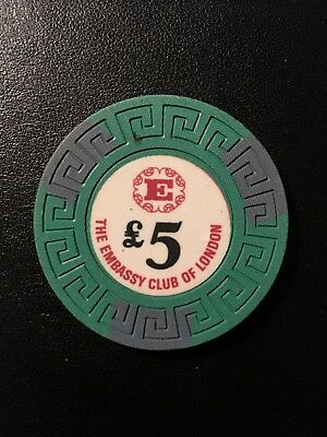 The Embassy Club of London (now closed) Rare Collectable £5 Casino Chip