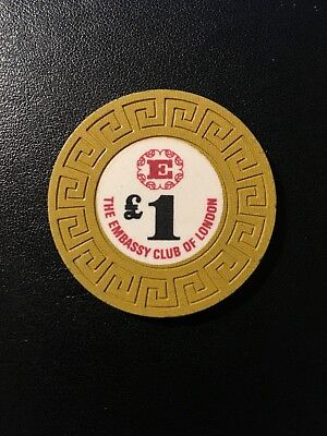 Rare Collectible Casino Chip - The Embassy Club of London (now closed) £1 chip