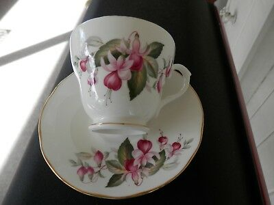 Duchess English Bone China cup and saucer  Fuchsia Pattern