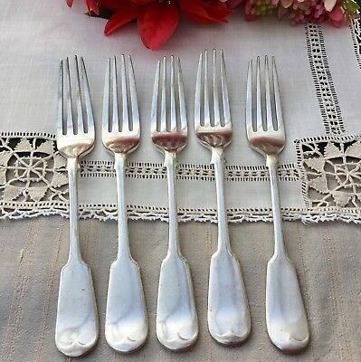 HARRISON FISHER 5x STARTER DESSERT FORKS - FIDDLE A1 SILVER PLATED CUTLERY c1900