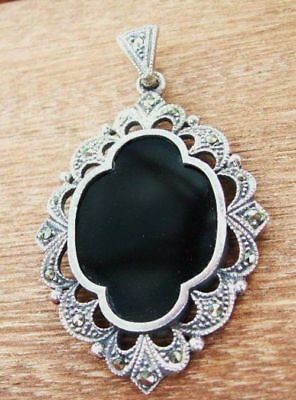 "Antique Sterling Silver Marcasite 2"" Art Nouveau Pendant"