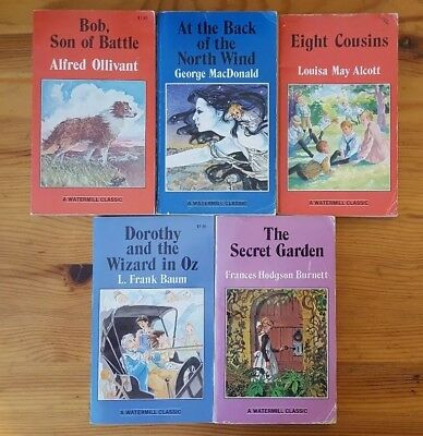 Vintage Paperback Watermill Classic Lot of 5 Secret Garden Eight Cousins Wizard