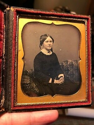 6th Plate Daguerreotype gorgeous woman IDd in rare case still sealed