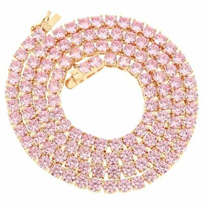 4mm 1 Row Tennis Necklace 14K Rose Gold Finish Pink Lab Diamonds 18 inches