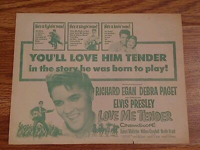 RARE Original Elvis Presley Love Me Tender paper movie ad 1956