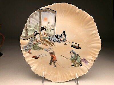 Wonderful Japanese Porcelain Dish With A Monkey Trainer Meiji Period