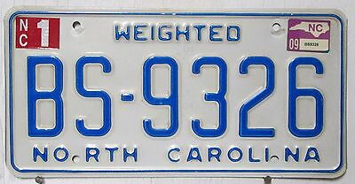 2009 North Carolina license plate WEIGHTED raised blue BS-9326 on white man cave