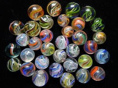 """Antique German Handmade Marbles - 34 Assorted Marbles 11/16""""-17/32"""""""