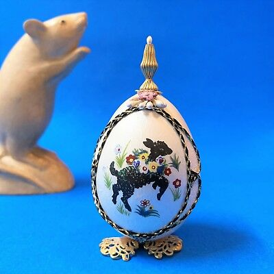 Hand Crafted Decorative Egg Ornament - Mary Had a Little Lamb - 9cm Tall