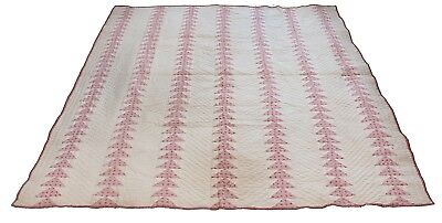 Antique Flying Geese Quilt Patchwork Pink Red Hand Stitched Quilted Handsewn
