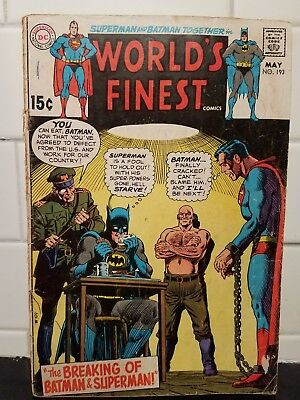 Superman and Batman Together World's Finest comic book No. 193 May 1970