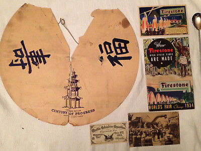 1934 Worlds Fair Chicago Chinese Pavilion Decor Firestone Booklet & Postcard