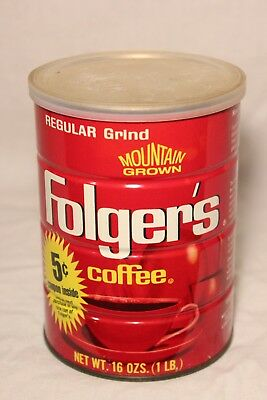 Vintage Folgers Coffee Can Tin 1 Lb Full Unopened