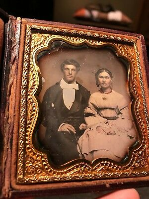 6th plate daguerreotype attractive couple tinted