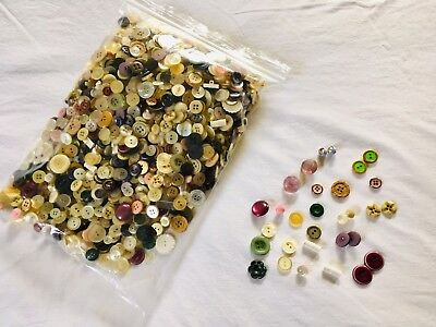 2 Pound Mixed, Some Vintage - Button Lot -  Plastic & Metal - For Crafts