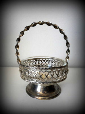 Silver Plated Signed English Silver Glass Insert Silver Basket w Handle