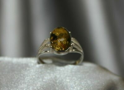Unique Cognac Baltic Amber 925 Sterling Silver Ring Size 7 - Made In Poland