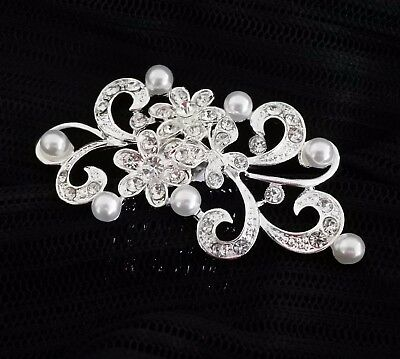 Wedding Bridal Rhinestones Hair Comb Headpiece Crystal Flower Silver White Pearl