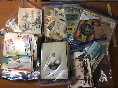 HUGE MIXED LOT VINTAGE ANTIQUE PICTURES POSTCARDS EPHEMERA 1800's - 1900's