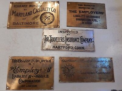 5 Vintage Brass Elevator Inspection plates