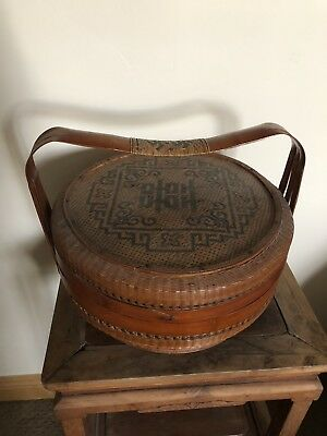 Authentic ANTIQUE OLD woven CHINESE Wedding Basket