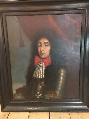 "Antique 18th Century Portrait Painting ""Royal in Armor"" *Simply Amazing* LARGE !"