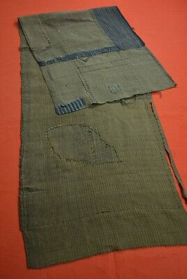 QC83/125 Vintage Japanese Fabric Cotton Antique Boro Patch Kusakizome SHIMA 50""