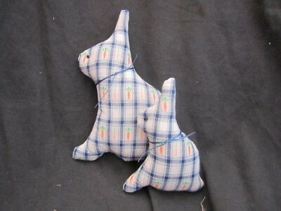 Primitive pair of bunnies - spring cotton - blue/cream/carrots- Spring/Easter