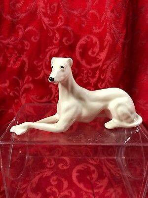 "Vintage Pottery Figurine statue dog Greyhound whippet Ceramic Porcelain 7"" Long"