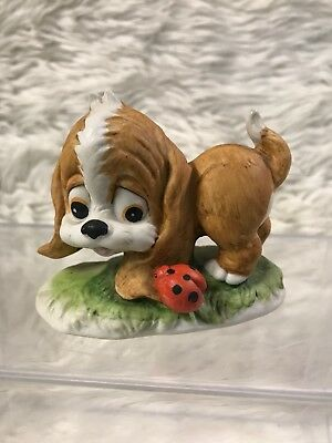 Vintage Lefton China Hand Painted Figurine Puppy Dog With Lady Bug 1316