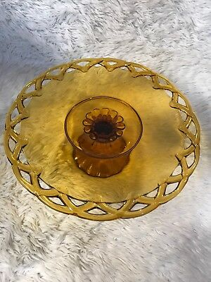 "Beautiful 14"" Vintage Amber Glass Pedestal Cake Plate w Scalloped Edge-,Rare"