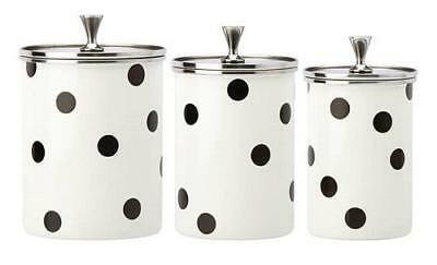 KATE SPADE ~ DECO DOT ~ SET OF 3 CANISTERS ~  All in Good Taste ~Canister NEW