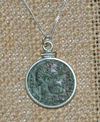 Authentic Ancient Coin Pendant Emperor Constantine The Great 925 Silver Necklace