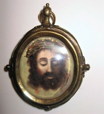 Antique Reliquary / Pendant Silver With Painting Of Jesus And Sacred Heart
