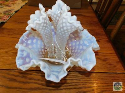 Vintage Fenton Hobnail Opalescent Blue Glass 3-Horn Ruffled Epergne Diamond Lace