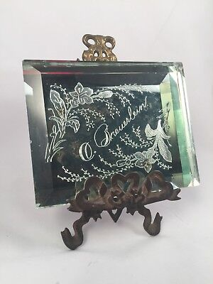 Unusual 1800's Victorian Postmortem Etched Glass Remembrance Mourning