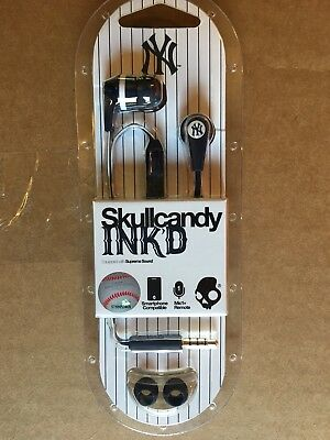 Skullcandy Ink'd 2 New York Yankees Earphones Headphones Earbuds with Mic New