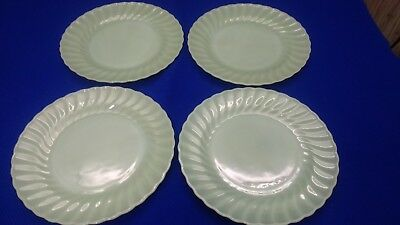 """Vintage Fire-King Jadeite Shell 10"""" Dinner Plates-Set Of Four-Extremely Nice !"""