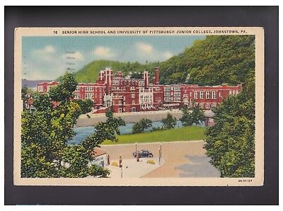 JOHNSTOWN PENNSYLVANIA PA 1941 High School College University Car Linen postcard