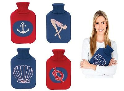 Hot Water Rubber Bottle with Knitted Nautical Theme Covers Winter Warm 2 Litre
