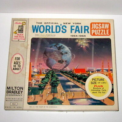 Vintage 1964 New York WORLD'S FAIR Jigsaw Puzzle MB Complete in Box Unisphere