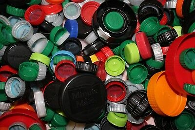 Mixed Lot Plastic Bottle Caps Approx 700 Crafting Clean Milk Soda Juice Water